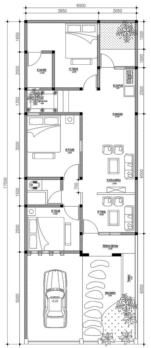 denah rumah 6m x 17,5m