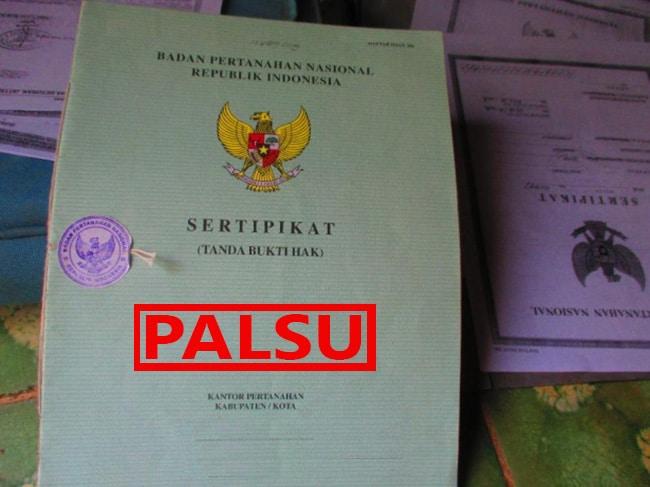 sertifikat rumah palsu