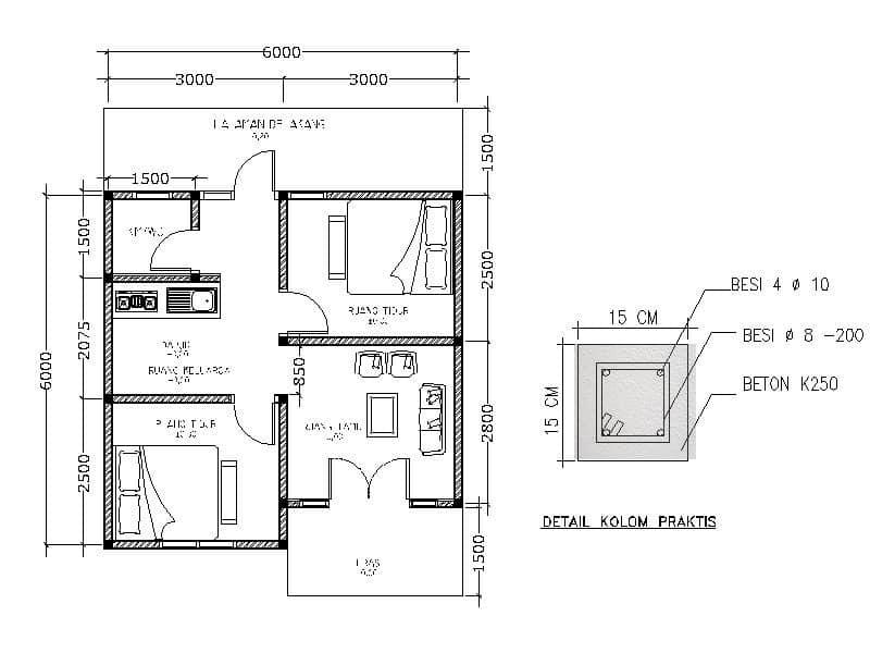 kolom praktis rumah 1 lantai