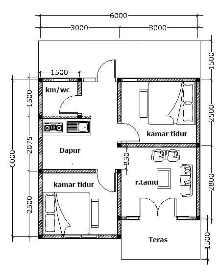 denah rumah tipe 36